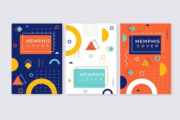 Conjunto de capa colorida com design de memphis