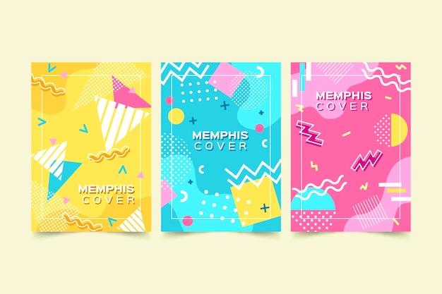 Conjunto de capa com design colorido de memphis