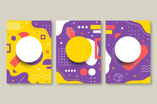 Conjunto de capa com design de memphis