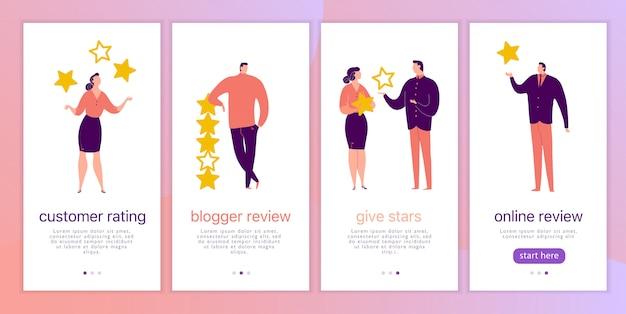 Conjunto de capa com pessoas e estrelas
