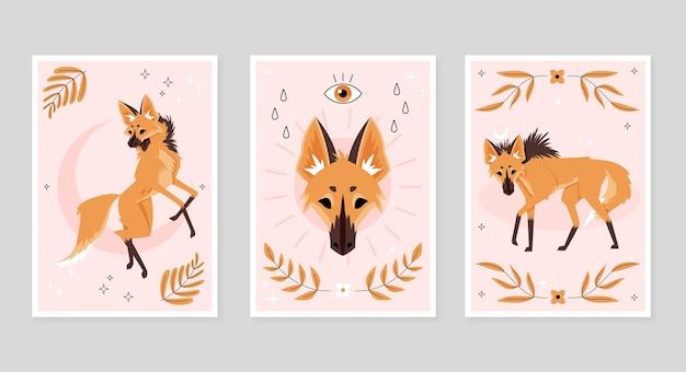 Conjunto de capa de animais selvagens planos