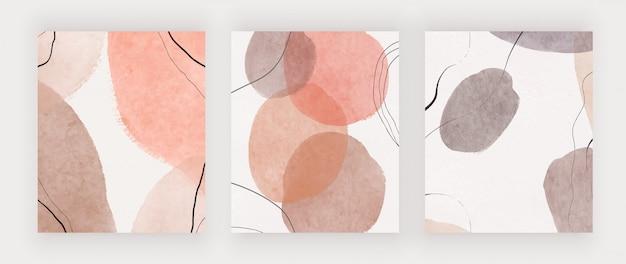 Conjunto de capa de aquarela abstrata