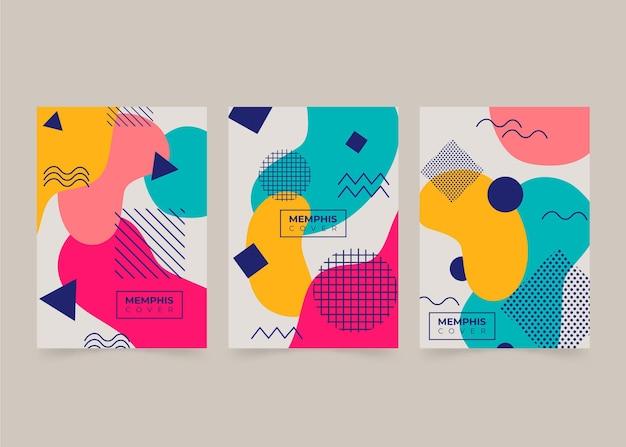 Conjunto de capa de design abstrato de memphis
