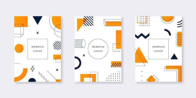 Conjunto de capa de design de memphis