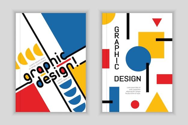 Conjunto de capa de design gráfico estilo bauhaus