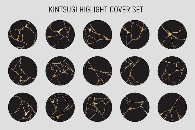 Conjunto de capa de destaque kintsugi