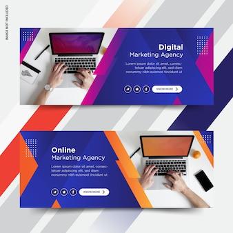 Conjunto de capa de facebook de marketing online