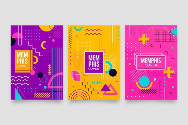 Conjunto de capa de formas geométricas de memphis