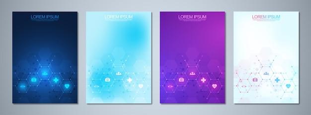 Conjunto de capa de livro modelo científico