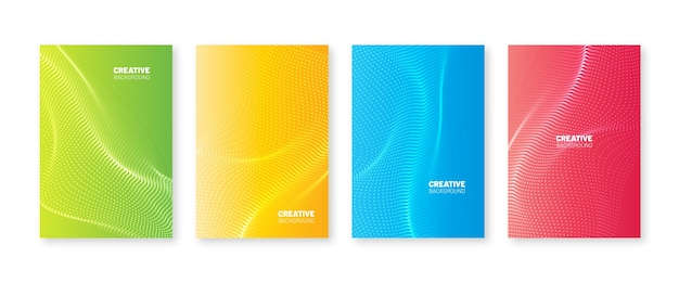 Conjunto de capa de pontos ondulados. gradientes fluidos com ondas borradas. projeto abstrato do folheto. coleção de cartazes de cor líquida moderna. modelo de plano de fundo moderno para mídia social etc.