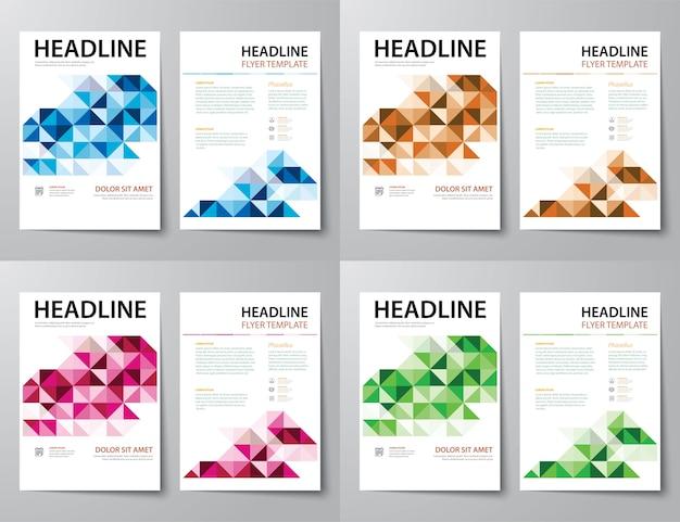 Conjunto de capa de revista de negócios abstrata, panfleto, modelo de design plano de brochura