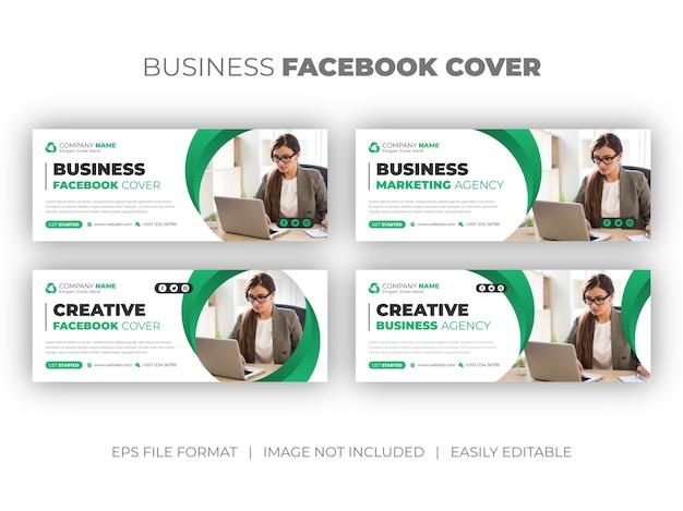 Conjunto de capa do facebook de mídia social de agência de marketing digital ou modelo de design de banner da web