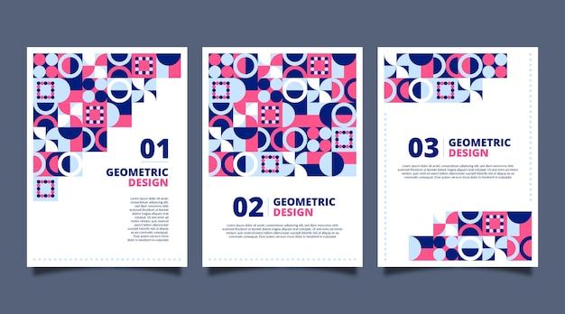 Conjunto de capa geométrica de negócios