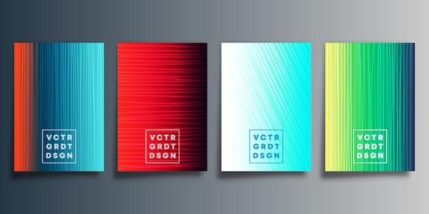 Conjunto de capa gradiente colorido com design de linha