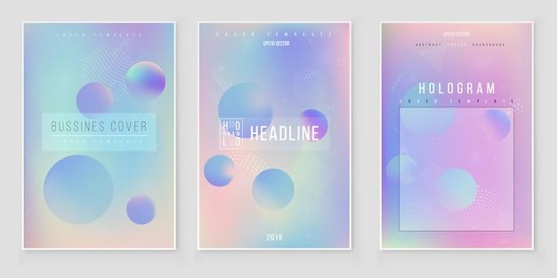 Conjunto de capa iridescente holográfica abstrata tendências de estilo moderno 80s 90s