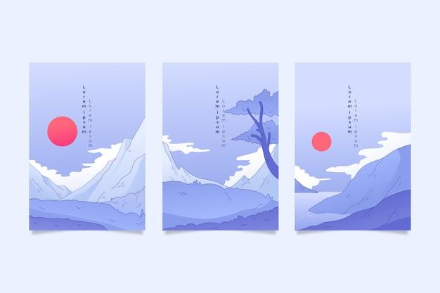 Conjunto de capa japonesa minimalista