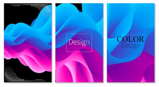 Conjunto de capa. o fluxo de fluido. cartaz colorido. onda.