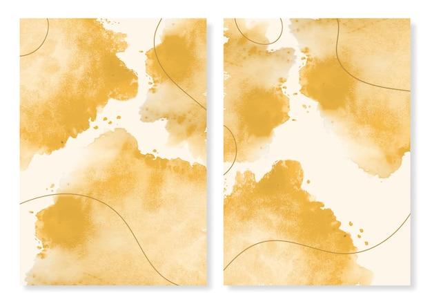 Conjunto de capa texturizada aquarela dourada
