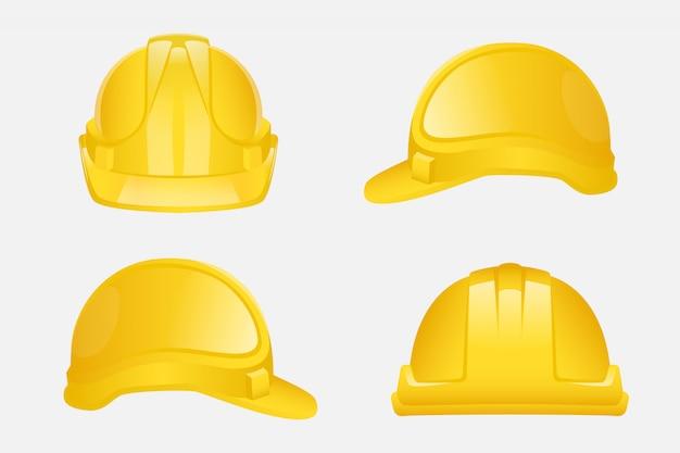 Conjunto de capacete amarelo de construção