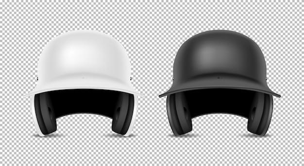 Conjunto de capacete de beisebol clássico realista - cor preto e branco. eu