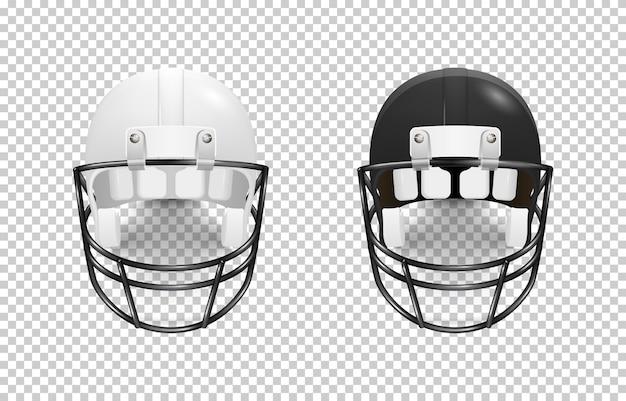 Conjunto de capacete de futebol americano clássico realista - cor preto e branco.
