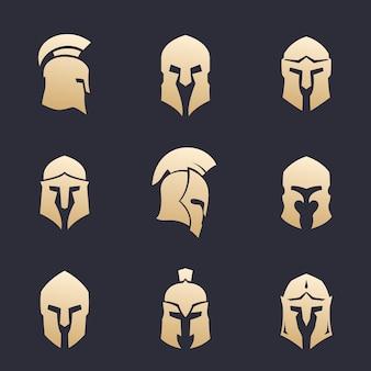 Conjunto de capacetes, armadura espartana, grega, romana