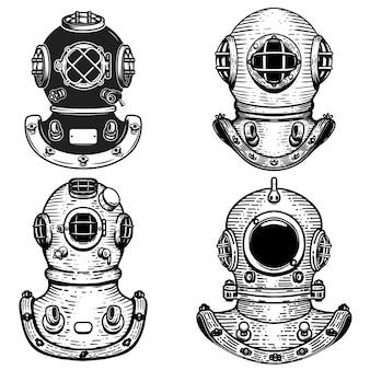 Conjunto de capacetes de mergulhador de estilo retro.
