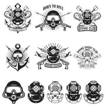 Conjunto de capacetes de mergulho vintage. emblemas de mergulhador. arma de mergulhador. ilustração