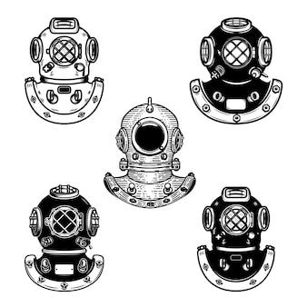 Conjunto de capacetes de mergulho vintage