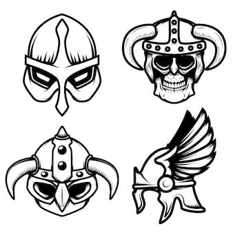 Conjunto de capacetes de viking isolado no branco