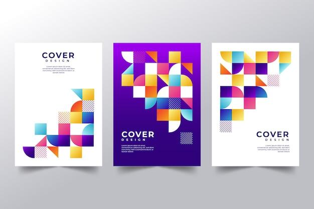 Conjunto de capas abstratas coloridas