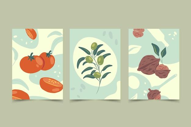 Conjunto de capas abstratas desenhadas à mão