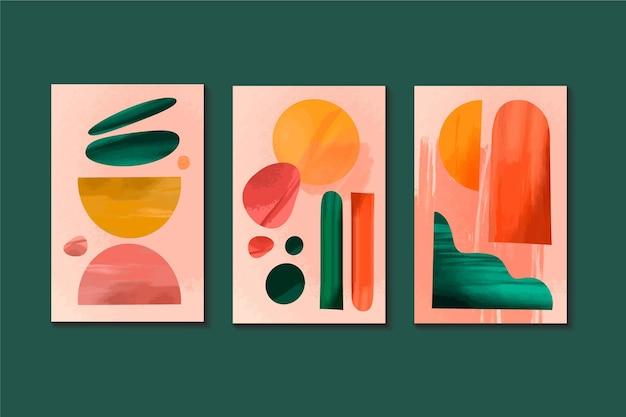Conjunto de capas abstratas em aquarela