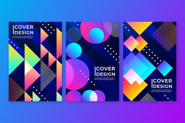 Conjunto de capas coloridas abstratas