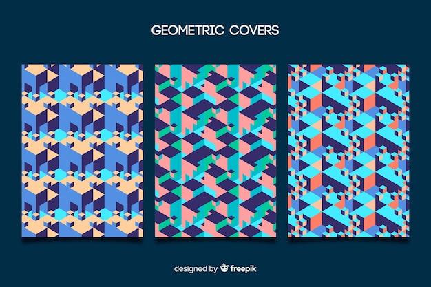 Conjunto de capas com desenho geométrico colorido