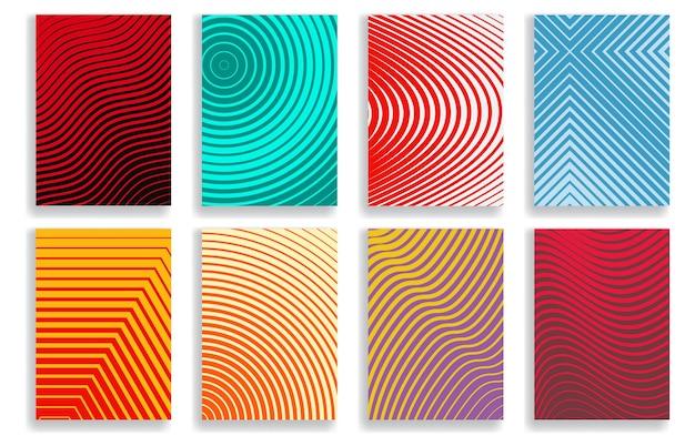 Conjunto de capas com desenhos geométricos de meio-tom em várias cores