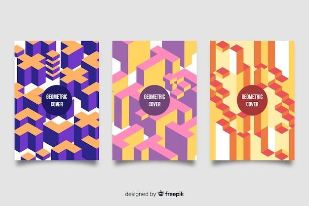 Conjunto de capas com desenhos geométricos