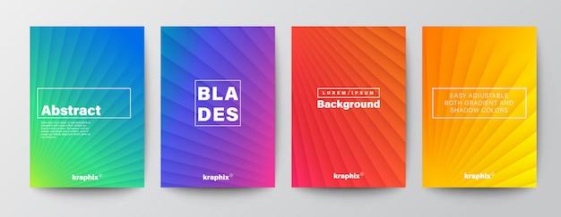 Conjunto de capas com design minimalista de linha diagonal abstrata