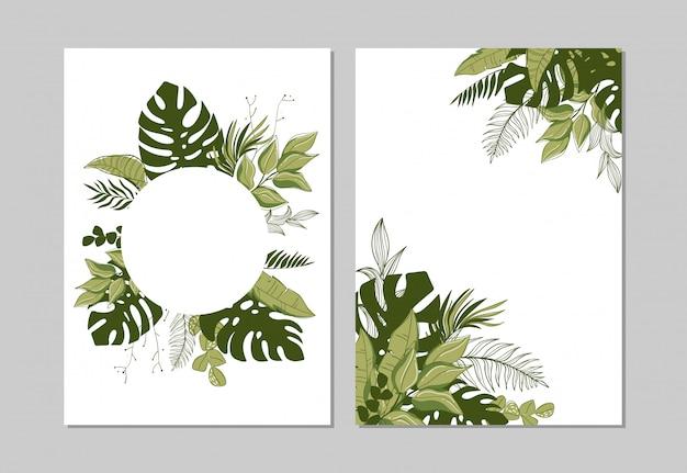 Conjunto de capas com folhas verdes tropicais.