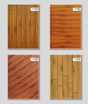 Conjunto de capas com textura de madeira