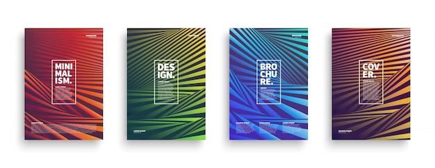 Conjunto de capas de brochura de listras distorcidas
