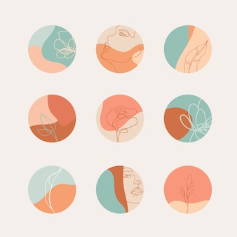Conjunto de capas de destaque em cores pastel