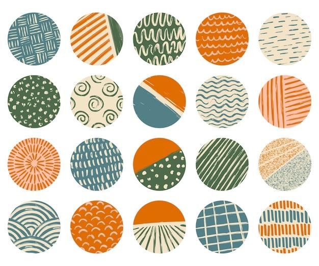 Conjunto de capas de destaque. várias formas, linhas, manchas, pontos