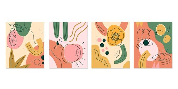 Conjunto de capas de formas abstratas desenhadas à mão