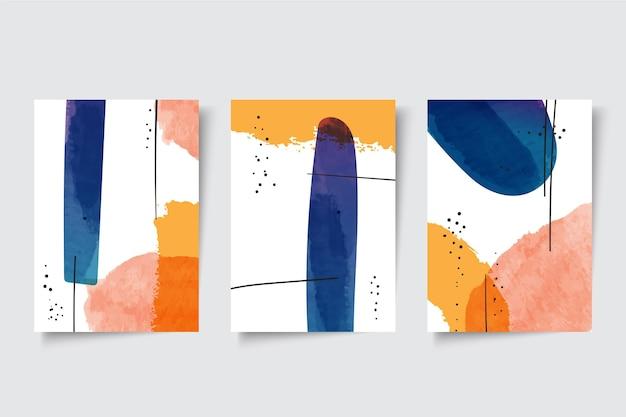 Conjunto de capas de formas abstratas em aquarela