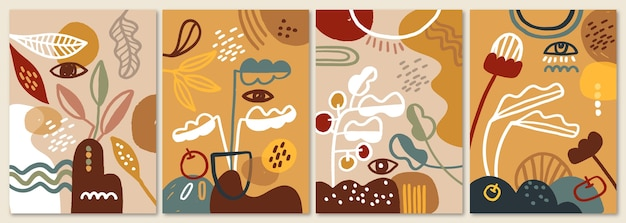 Conjunto de capas de formas abstratas mão desenhada