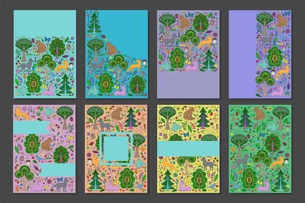 Conjunto de capas de modelo wonderland fun forest