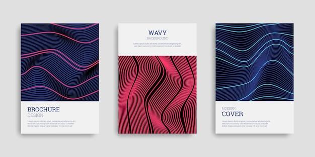 Conjunto de capas de negócios com listras onduladas