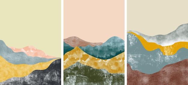 Conjunto de capas de paisagem de montanha abstrata