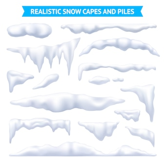 Conjunto de capas e pilhas de neve